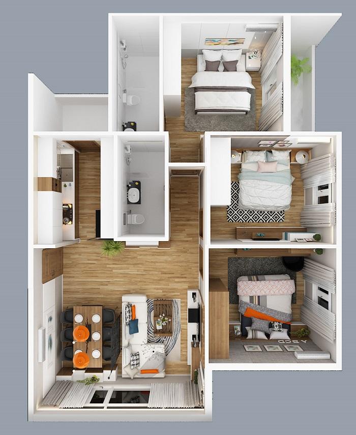 căn hộ city gate 2 loại 3 phòng ngủ