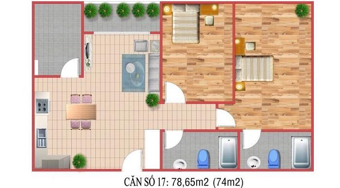 thiết kế mặt bằng của căn hộ city gate 3